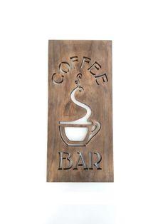 Café Bar signo moderno cocina arte madera Home por TimberArtSigns