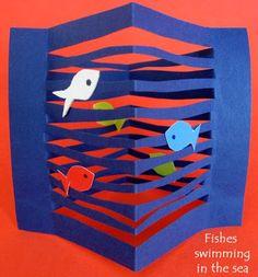 Toys from trash, kindergarten art, preschool crafts, paper fish, creation a Ocean Crafts, Fish Crafts, Kindergarten Art, Preschool Crafts, Arte Elemental, Toys From Trash, Classe D'art, Paper Art, Paper Crafts