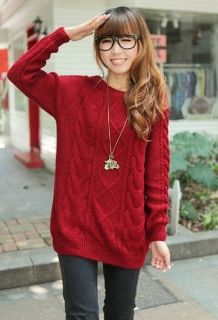 Wholesale Vintage Twist Round Collar Long Sleeve Woolen Sweaters