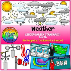 You'll be getting 50 graphics (25 coloured, 25 lineart) of the following:Weather Symbols:SunnyRainingThunderSnowyCloudy...and many moreWeather ForecasterWeather Forecast in newspaperWeather Forecast on TVWeather MapWind VaneWind SockAnemometerHot and Cold thermometer graphicPlease lookout for Severe Weather and Season sets coming up soon!