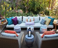 Small stools and ottomans are perfect for plates, drinks, and extra seating while you are entertaining. Fabulous patio design idea via Better Homes and Gardens Outdoor Seating, Outdoor Rooms, Outdoor Living, Outdoor Decor, Extra Seating, Party Outdoor, Backyard Playground, Backyard Patio, Pergola Designs