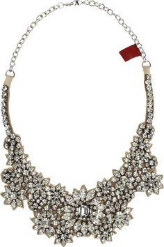 VALENTINO Silver Jewel Flowers Swarovski Crystal Necklace - Lyst