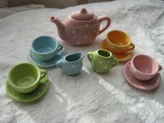 Girl'S Child'S Dishes Colorful TEA SET Polka Dots 4 Teacups Teapot Sugar Creamer | eBay Childrens Tea Sets, Grand Kids, Teacups, Teapot, Tea Time, Goodies, Polka Dots, Childhood, Parties