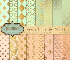 Peaches & Mint with Golden Leaf  16 Pack by OriginsDigitalCurio