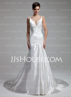 Wedding Dresses - $171.99 - A-Line/Princess V-neck Chapel Train Charmeuse Wedding Dress With Ruffle Lace Beadwork (002000434) http://jjshouse.com/A-Line-Princess-V-Neck-Chapel-Train-Charmeuse-Wedding-Dress-With-Ruffle-Lace-Beadwork-002000434-g434