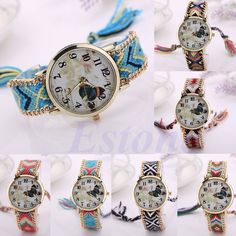 New Women Ethnic Braided Butterfly Dial Analog Quartz Chain Bracelet Wrist Watch #Unbranded #Fashion
