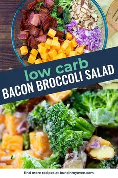 This low carb broccoli salad is packed with cheddar bacon and ranch! It's a favorite with my whole family. This low carb broccoli salad is packed with cheddar bacon and ranch! It's a favorite with my whole family. Low Carb Broccoli Salad, Best Broccoli Salad Recipe, Skinny Broccoli Salad, Broccoli Recipes, Shredded Chicken Recipes, Chicken Salad Recipes, 500 Calories, Calories In Vegetables, Veggies