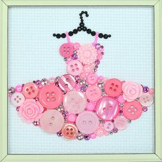 Pink Tutu Button Art  This piece has been created on a sturdy 4x4 art board covered with a high quality 100% cotton white Aida Cloth. The piece comes framed - frame dimensions are 6.5x6.5 inches.  This piece was made using vintage and new buttons, Swarovski crystal rhinestones, and pearl and flower cabochons.  In creation of my art I use vintage buttons and cabochons from my collection. I browse online stores (especially here on Etsy) as well as antique stores and flea markets in search of…