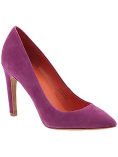 suede pointy toe pumps - love the purple and black!