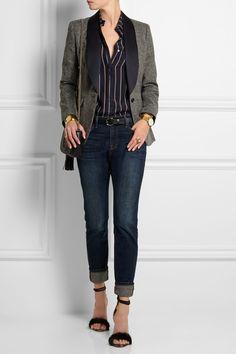 J.Crew|Collection satin-trimmed wool-tweed blazer|NET-A-PORTER.COM
