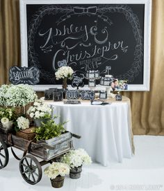 Add DIY flair to your wedding reception with chalkboard accessories.