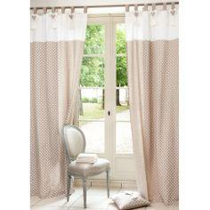 tenda mantovana shabby : Tenda vetro con mantovana Blanc Mariclo in colore Bianco e Lino 45x60 ...