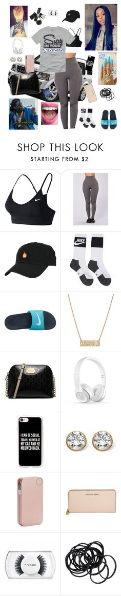 """"""""""" by kristinabone ❤ liked on Polyvore featuring NIKE, Nashelle, MICHAEL Michael Kors, Casetify, Palm Beach Jewelry, Incase, Michael Kors, MAC Cosmetics and H&M"""