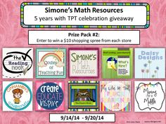 Giveaway of Prize Pack 2 from Simone's Math Resources--Sept. 14-20, 2014. Enter to win some free teacher resources from TPT--primarily for upper elementary and middle grades (4th to 8th grade).