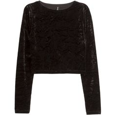 H&M Crushed velvet crop top (€14) ❤ liked on Polyvore featuring tops, black, crop top, black long sleeve top, black crop top, h&m tops and h&m