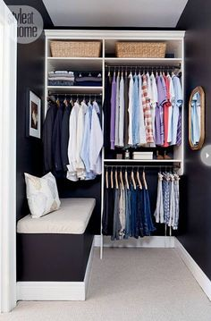 Is your closet overflowing? Here are closet storage ideas to help you gain more control over your closet space. Small Dressing Rooms, Dressing Room Closet, Dressing Room Design, Closet Bedroom, Closet Space, Dressing Area, Walking Closet, Closet Storage, Closet Organization