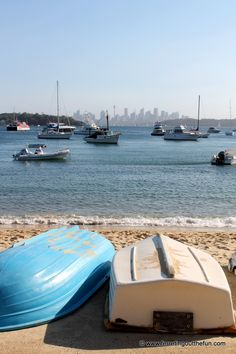 Boats bob in the blue water of Sydney Harbor in Watsons Bay Australia Travel, Sydney Australia, Stuff To Do, Things To Do, Island Nations, South Pacific, Surfboard, Boats, Places To Visit