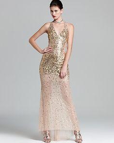Basix Gown V Neck Sequin Mesh