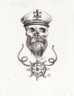 beard skull nautical tattoo pencil sketch with sailor captains hat . Navy Tattoos, Sailor Tattoos, Skull Tattoos, Leg Tattoos, Print Tattoos, Cool Tattoos, Nautical Tattoos, Tattoo Sketches, Tattoo Drawings