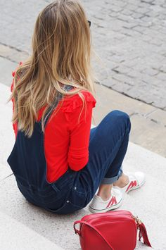 dungarees, red top, white trainers
