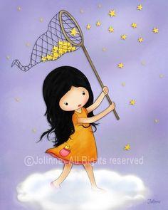 Girl catching stars Nursery Print Kid's bedroom decor por jolinne