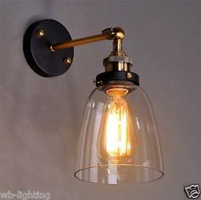 Vintage Industrial Sconce Adjustable Glass Metal Wall Lamp Shade Light Brass