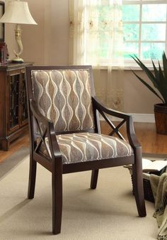 Somette Espresso Accent Side Chair with Arm Earthy Fabric Contemporary Seat #Somette