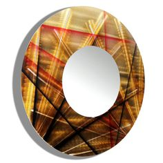 """Title: Mirror 110  Color: Gold, Black and Red Earth-Tone Fusion  Overall Dimensions: 23"""" Diameter - #abstract #art #artwork #contemporarydecor #goldenmirrors #circleart  #modernmirror #mirrorart #circularart #redandgold #modern #mirror #roundmirror #handmade #circularwalldecor #goldart #bathroomdecor #circlemirror #roundart #functionaldecor #black #vanitymirror"""