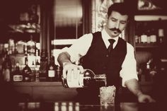 Speakeasy theme wedding old world bartender