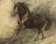Black Art Painting - Midnight by Silvana Gabudean Art Paintings For Sale, Beautiful Paintings, Horse Paintings, Cute Animal Pictures, Art Pictures, Oil Pastel Colours, Black Art Painting, Equine Art, Sale Poster