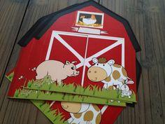Προσκλητήριο σπιτάκι φάρμας με ζωάκια.  Η πόρτα ανοίγει και εμφανίζει το κείμενο!!!