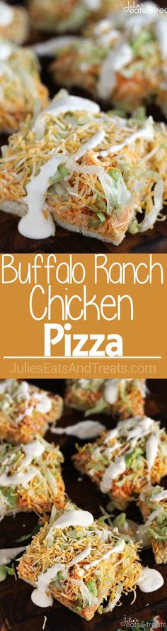 Buffalo Ranch Chicken Pizza ~ Flaky Crescent Rolls Piled with Cream Cheese, Buffalo Chicken, Lettuce, Cheese and Blue Cheese Dressing! ~ http://www.julieseatsandtreats.com