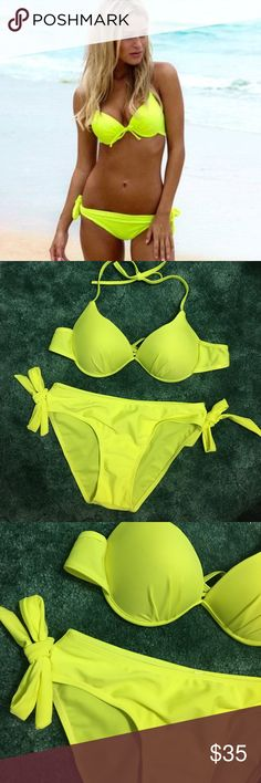Boutique • Neon yellow citron bikini Boutique (no brand) neon yellow bikini. NWT. No tag but has hygienic liner. Note: foreign sizing! Runs small! Size says XL but it fits like a S/M. (Bottoms fit like S, top would best fit M.) Adjustable tie straps on halter top and on back. Bottoms have bow details on sides but they are not adjustable. Very similar to cover photo but not exact. Boutique Swim Bikinis