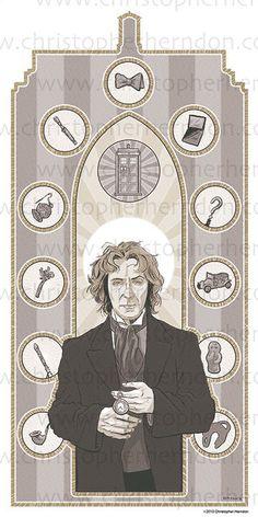 Saint McGann of Who Screen Print 11x17 Print by ChrisHerndonArt,on Etsy.com $25 Christopher Herndon Artwork Dr Who February 2015