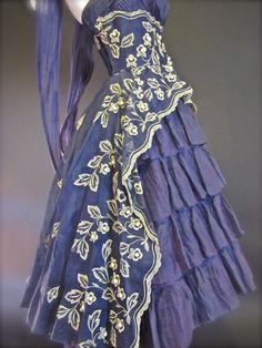 Vintage Ceil Chapman Silk Organza Party Dress & Shawl c. 1949