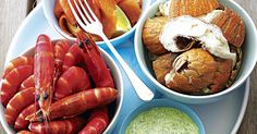 Perfect for those hot summer days by the water, prepare this glorious cold seafood platter for your family and friends. Prawns, salmon and Balmain bugs are wonderful accompanied by a zesty herb yoghurt and a squeeze of lemon. Horseradish Cream, Prawn Recipes, Seafood Platter, Lemon Wedge, Greek Yoghurt, Smoked Salmon, Kraut, Food Inspiration, Sausage