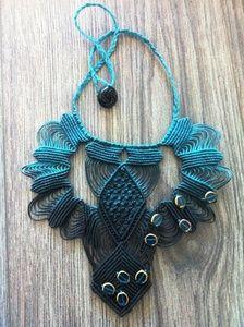 Image of Macrame classic black/teal S Macrame Necklace, Macrame Jewelry, Fabric Jewelry, Crochet Necklace, Hippie Shop, Micro Macramé, Macrame Design, Neck Piece, Bead Art