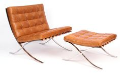 Early Knoll Mies Van De Rohe Barcelona Chair & Ottoman circa late 1950's | red modern furniture