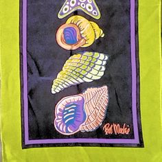Bob Mackie Silk Scarf Shells  Beach Green Black Purple Orange Oblong 10x 36 Long #BobMackie #Oblong #anytime Art Projects For Adults, Shell Beach, Bob Mackie, Shells, Silk, Orange, Purple, Green, Goodies