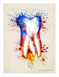 "Fine Art Print - ""Watercolor Tooth "" 8.5""x11"", Dental print, Dental Hygenist…"