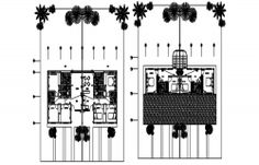Residential bungalow layout in Autocad 3d Architect, Kitchen Drawing, Cad File, Steel Detail, Working Drawing, Floor Layout, Dressing Area, Study Rooms, Kids Play Area