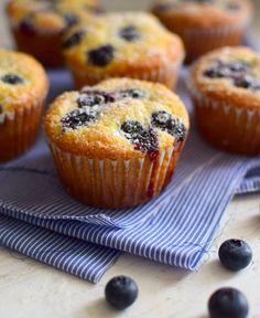 Cupcakes hechos en parte con harina de maíz y arándanos frescos; preparación fácil y de excelente textura. Como no lleva decoración parece un muffin. Ven por la receta!