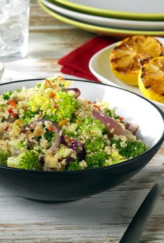 This light and fresh tasting quinoa salad is made with broccoli florets, vegetable stock, chillies and almonds. It's so easy and quick. To serve, the quinoa is Quinoa Salad Recipes, Vegan Recipes, Broccoli Florets, Red Chilli, Vegetable Stock, Cooking Classes, Recipe Using, Potato Salad, Salads