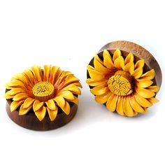 Double Flare Sawo Wood Leather Sunflower Design Ear Plugs Gauges - Orange to Yellow Burst