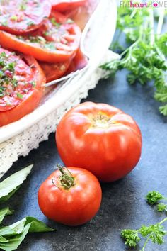 large surface area of the slices allows them to really soak up the deliciousness. If your tomatoes are smaller, however Fresh Tomato Recipes, Fresh Salad Recipes, Tomato Salad Recipes, Spicy Recipes, Apple Recipes, Italian Recipes, Vegan Recipes, Cooking Recipes, Marinated Tomato Salad Recipe