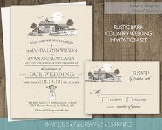 Barn Wedding Invitations Set Rustic Country Wedding Invitations Mason Jar Wedding Invites Set Kraft paper Rustic DIY Digital printable files by NotedOccasions