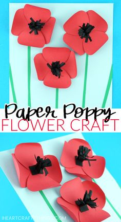 Learn how easy it is to make this simple paper poppies craft. Come grab the free poppy flower template. The combination of the red flower petals popping of the page along with black strips coming out from the middle of the flowers gives this pretty paper poppies craft an awesome 3-dimensional effect. Great Remembrance Day Craft and Poppy Craft for kids. #poppies #remembranceday #poppyday #flowercrafts #papercraft #papercrafts #papercrafsforkids #summercraftsforkids #iheartcraftythings