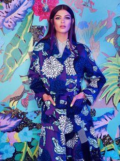 Eastern-Inspired Floral Fashion - The Elle Poland Emilia Nawarecka Editorial Features Kimonos