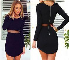Online Shop 2015 new fashion women black bodycon bandage dress casual O-neck long sleeved mesh waist Slim sexy mini dresses plus size|Aliexpress Mobile