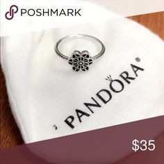 Pandora Floral Daisy Lace Ring Size 6, like new. Only worn a couple times. Comes with original packaging. Sterling silver. Pandora Jewelry Rings